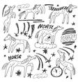 Horses - doodles set vector image