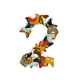number 2 cat font cats number two pet alphabet vector image