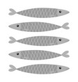 sardine gray fish icon set iwashi sardina vector image