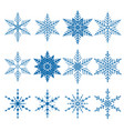 set of 12 blue snowflakes vector image