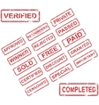 Set of 17 red stamps vector image