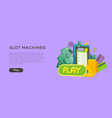 slot machine web banner isolated with play button vector image