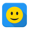 Smiling yellow face app icon with long shadow vector image