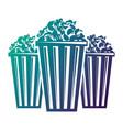 three bucket with pop corn snack vector image