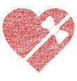 tied love heart fabric textured icon vector image