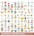 100 medical anatomy icons set flat style vector image