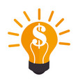 Colorful silhouette light bulb with dollar symbol vector image
