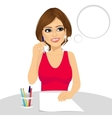 Attractive woman thinking concept holding a pencil vector image