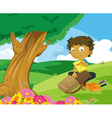 Packing bag in the park vector image vector image
