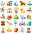 Baby toys icon set palette train yaht horse vector image