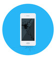 Broken Smart Phone Circle Icon vector image