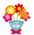 cartoon bouquet exotic flowers womens day card vector image