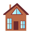 cottage house with big windows and attic floor vector image
