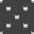 drum icon sign Seamless pattern on a gray vector image