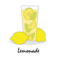 gentle drawn of a glass with lemonade vector image