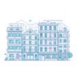 modern city scene in thin line design vector image