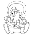 outlined santa with kids vector image