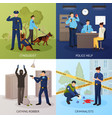 police service 4 flat icons square vector image