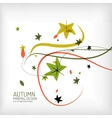 Autumn swirl plant and leaves minimal vector image