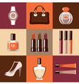 Flat round icons with makeup and accessories vector image vector image