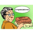 Grandma wishes a happy birthday cake vector image