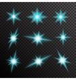 set of glowing light bursts with sparkles vector image vector image