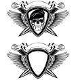 shield crossed knives and skull in beret vector image