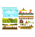 farming infographic elements with farmer farm vector image