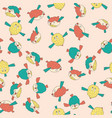pattern with cute birds in pink color vector image
