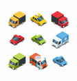 set of isometric cartoon-style city cars vector image