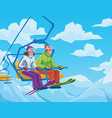 skiers riding on the lift at the ski resort vector image