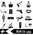 death theme set of black simple icons eps10 vector image
