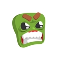 Angry Green Emoji Cartoon Square Funny Emotional vector image