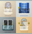 Balcony design compositions set vector image