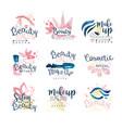 beauty natural salon logo design set of colorful vector image
