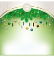 Christmas decorations on the branches beneath the vector image