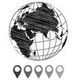 Hand drawn earth globe vector image