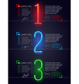 Design template with neon luminous numbers vector image