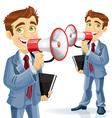 Cute businessman speaks in megaphone vector image