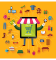 Online shopping and business Conceptual backgroun vector image