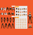 set collection for creation male steampunk vector image