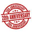 20th anniversary round red grunge stamp vector image