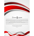 Abstract red and grey wavy corporate flyer design vector image
