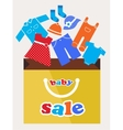 shopping bag with baby toy and cloth icons vector image