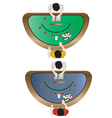 Casino furniture Blackjack table top view set 3 vector image