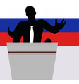 A businessman politician talking to crowd vector image