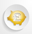 Button Pound Piggy bank design with shadow effect vector image