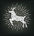 christmas deer white silhouette vector image