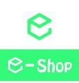 E letter logo e shop vector image