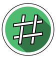 Hashtag icon flat style vector image